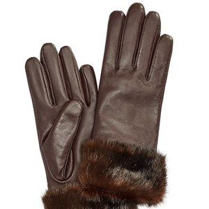 Charter Club Faux Fur Cuff Leather Tech Gloves XL